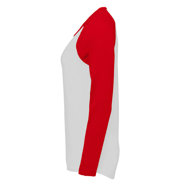 White-Burgundy - Lifestyle - SOLS Womens-Ladies Milky Contrast Long Sleeve T-Shirt