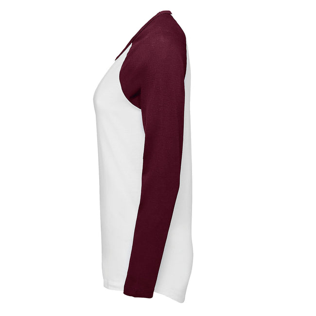 White-Deep Black - Lifestyle - SOLS Womens-Ladies Milky Contrast Long Sleeve T-Shirt