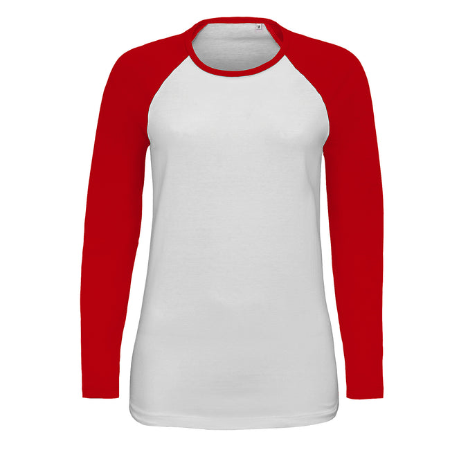 White-Burgundy - Front - SOLS Womens-Ladies Milky Contrast Long Sleeve T-Shirt