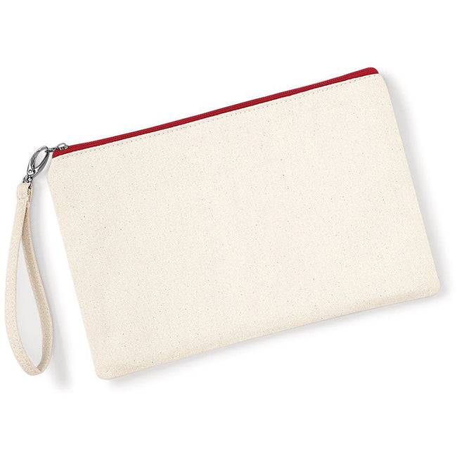 Natural-Red - Back - Westford Mill Canvas Wristlet Pouch