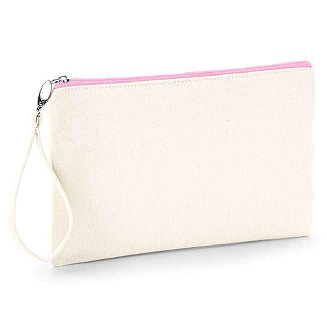 Natural-Pink - Front - Westford Mill Canvas Wristlet Pouch