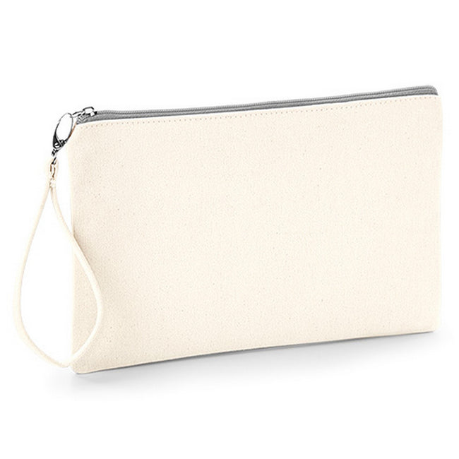 Natural-Light Grey - Front - Westford Mill Canvas Wristlet Pouch