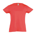 Medium Pink - Back - SOLS Girls Cherry Short Sleeve T-Shirt