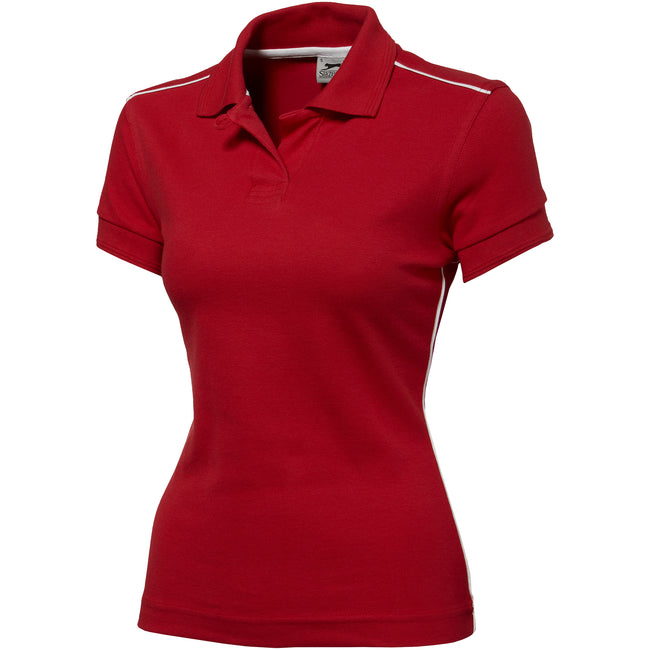 Red - Front - Slazenger Backhand Short Sleeve Ladies Polo