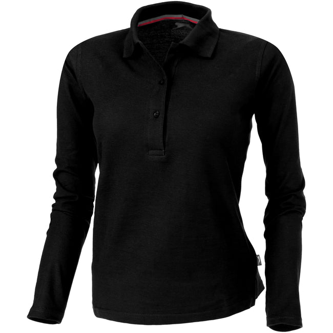 Solid Black - Back - Slazenger Womens-Ladies Point Long Sleeve Polo Shirt