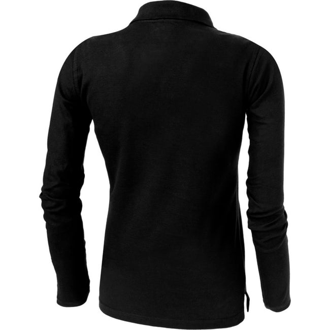 Solid Black - Side - Slazenger Womens-Ladies Point Long Sleeve Polo Shirt