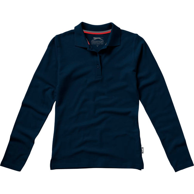 Navy - Front - Slazenger Womens-Ladies Point Long Sleeve Polo Shirt