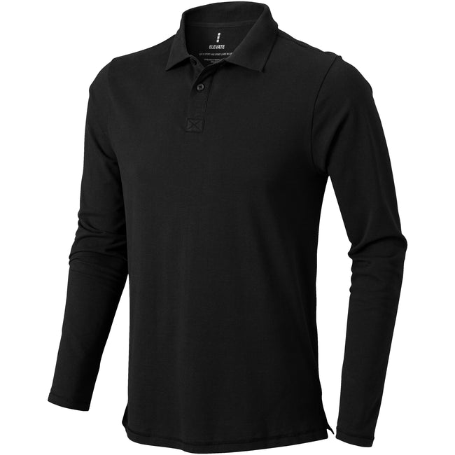 Solid Black - Front - Elevate Mens Oakville Long Sleeve Polo Shirt
