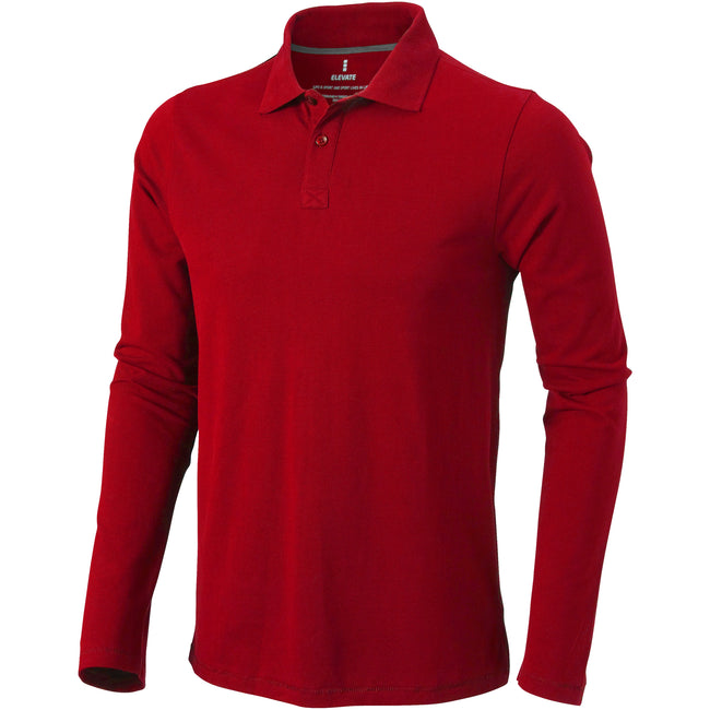 Red - Front - Elevate Mens Oakville Long Sleeve Polo Shirt