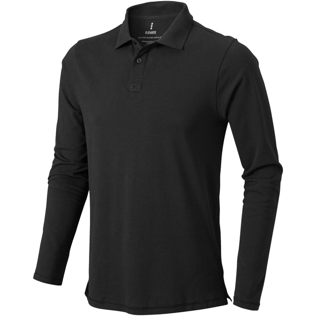 Anthracite - Front - Elevate Mens Oakville Long Sleeve Polo Shirt
