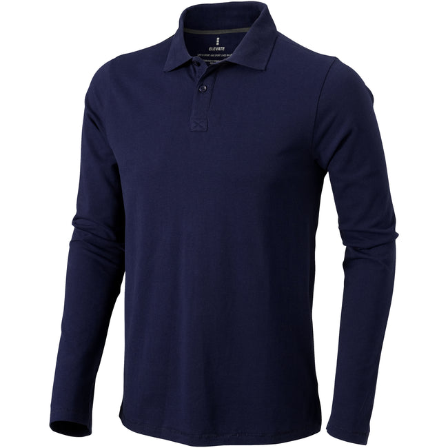 Navy - Front - Elevate Mens Oakville Long Sleeve Polo Shirt
