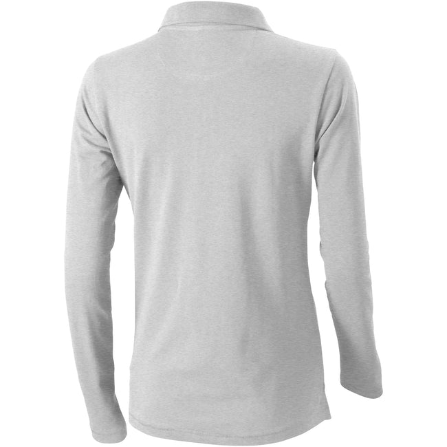 Grey Melange - Back - Elevate Oakville Long Sleeve Ladies Polo Shirt