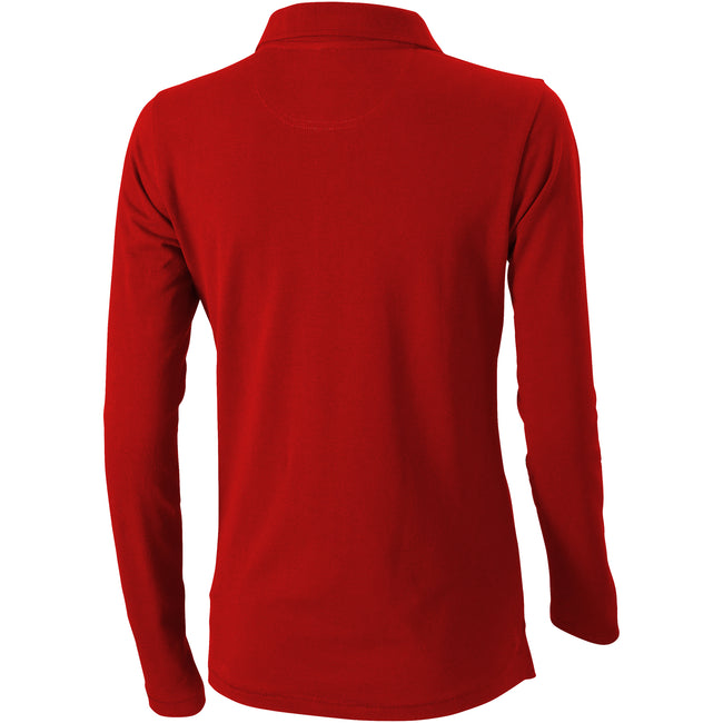 Red - Back - Elevate Oakville Long Sleeve Ladies Polo Shirt