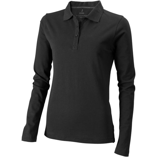 Anthracite - Front - Elevate Oakville Long Sleeve Ladies Polo Shirt