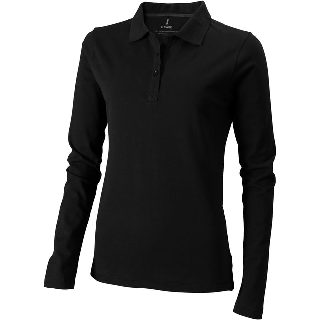 Solid Black - Front - Elevate Oakville Long Sleeve Ladies Polo Shirt