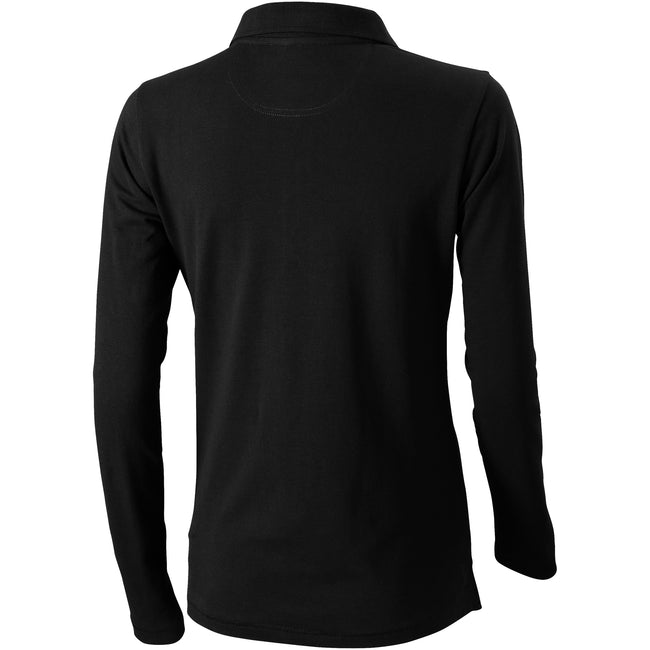 Solid Black - Back - Elevate Oakville Long Sleeve Ladies Polo Shirt