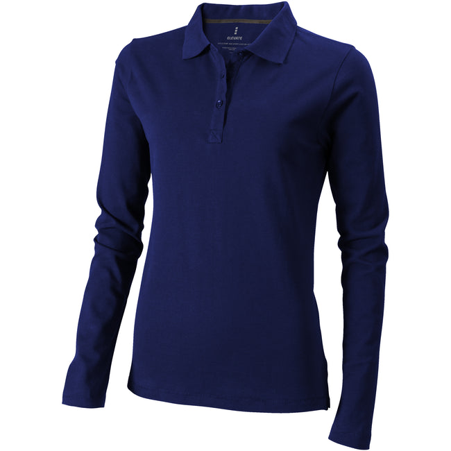 Navy - Front - Elevate Oakville Long Sleeve Ladies Polo Shirt