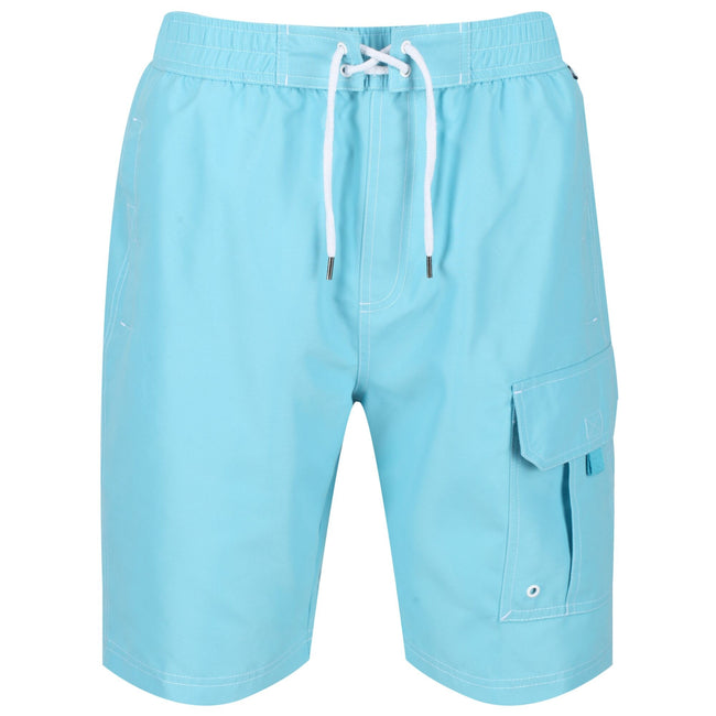 Maui Blue - Front - Regatta Mens Hotham III Mesh Quick Drying Board Shorts
