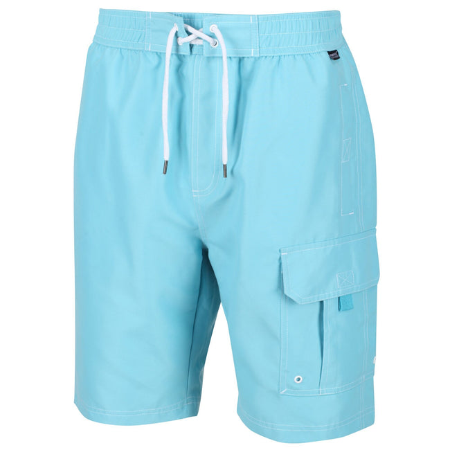 Maui Blue - Back - Regatta Mens Hotham III Mesh Quick Drying Board Shorts