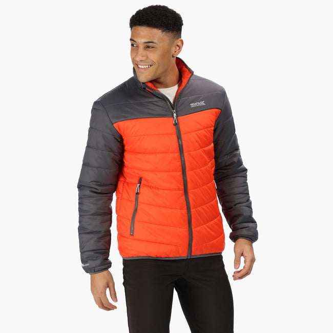 Burnt Salmon-Magnet Grey - Front - Regatta Mens Freezeway Insulated Baffle Jacket