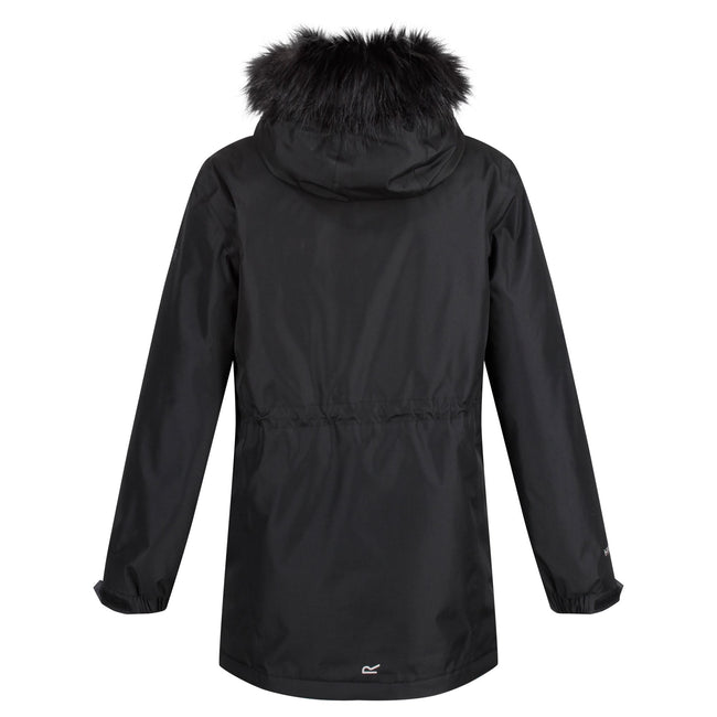 Black - Back - Regatta Childrens-Kids Perry Fur Trimmed Waterproof Jacket