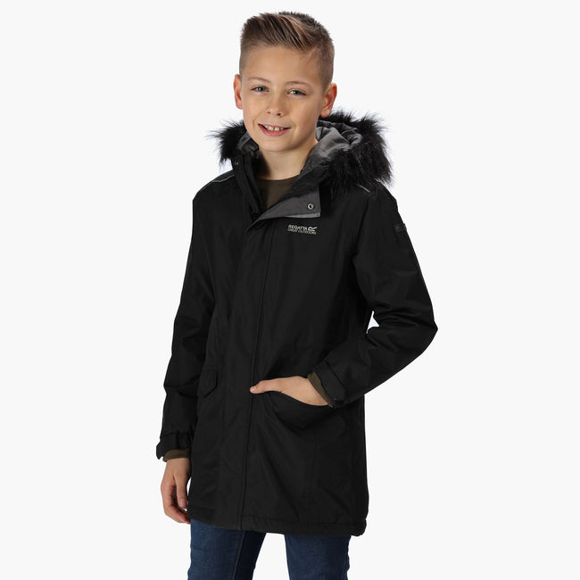 Black - Side - Regatta Childrens-Kids Perry Fur Trimmed Waterproof Jacket