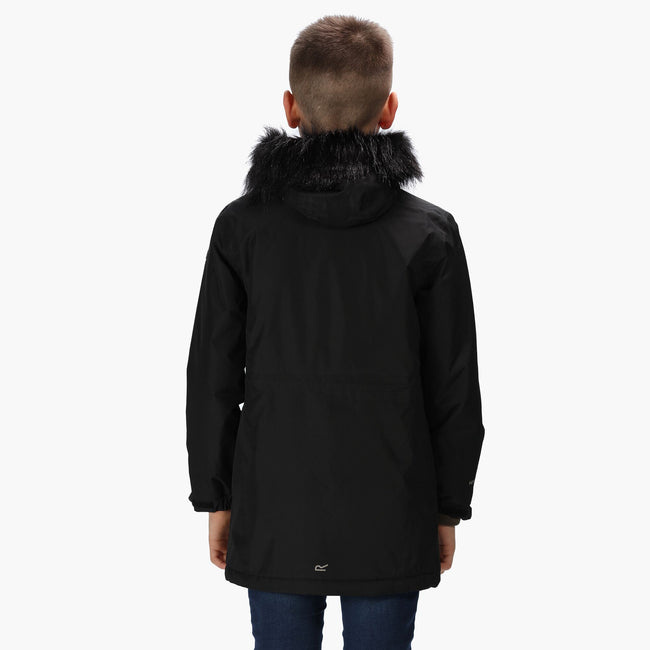 Black - Lifestyle - Regatta Childrens-Kids Perry Fur Trimmed Waterproof Jacket