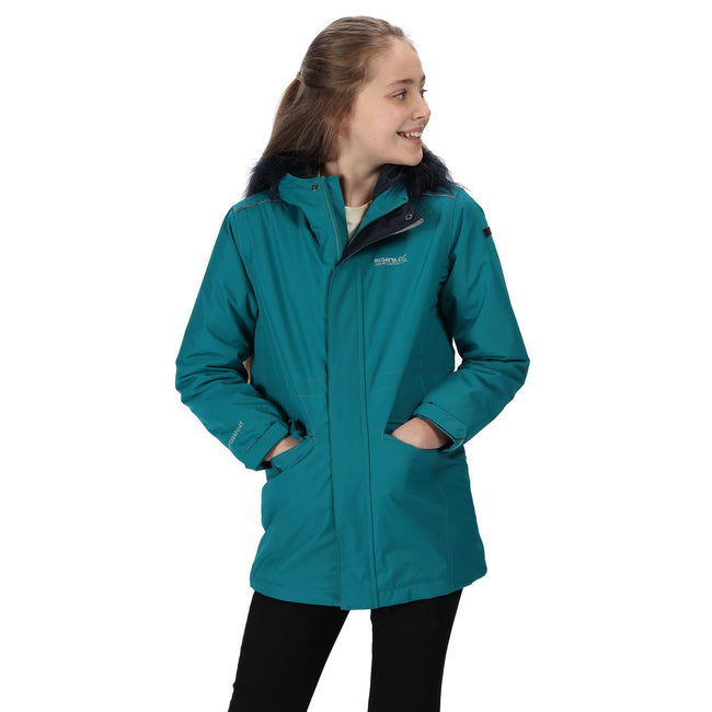 Deep Lake - Side - Regatta Childrens-Kids Perry Fur Trimmed Waterproof Jacket
