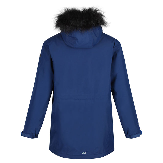 Prussian Blue - Back - Regatta Childrens-Kids Perry Fur Trimmed Waterproof Jacket