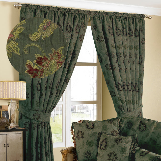 Green - Front - Riva Home Zurich Pencil Pleat Curtains