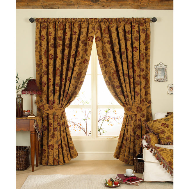 Gold - Front - Riva Home Zurich Pencil Pleat Curtains
