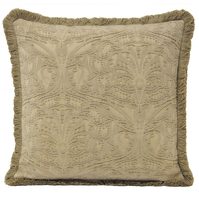 Stone - Front - Riva Home Astley Embossed Pattern Fringed Cushion Cover