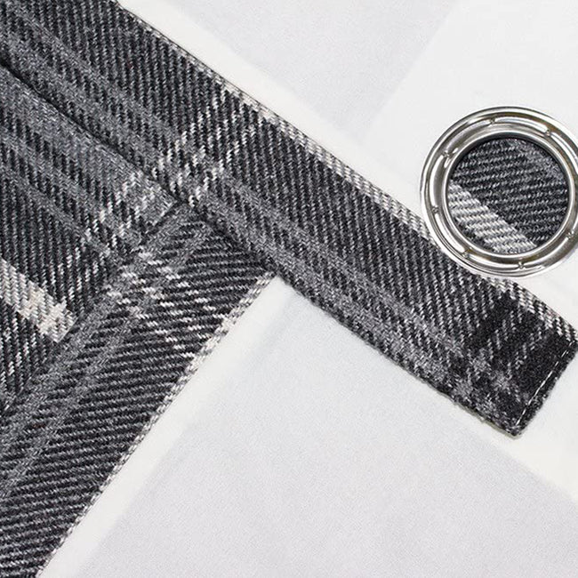 Thistle - Front - Riva Home Aviemore Checked Pattern Ringtop Curtains