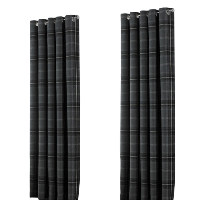 Grey - Front - Riva Home Aviemore Checked Pattern Ringtop Curtains