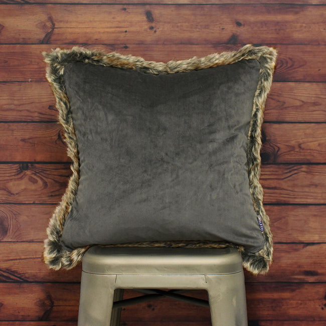 Smokey Grey - Lifestyle - Riva Paoletti Kiruna Faux Fur Edged Square Cushion Cover