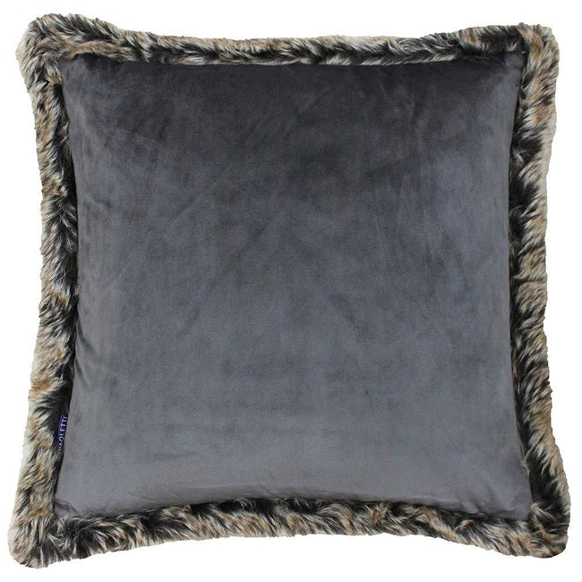 Smokey Grey - Front - Riva Paoletti Kiruna Faux Fur Edged Square Cushion Cover