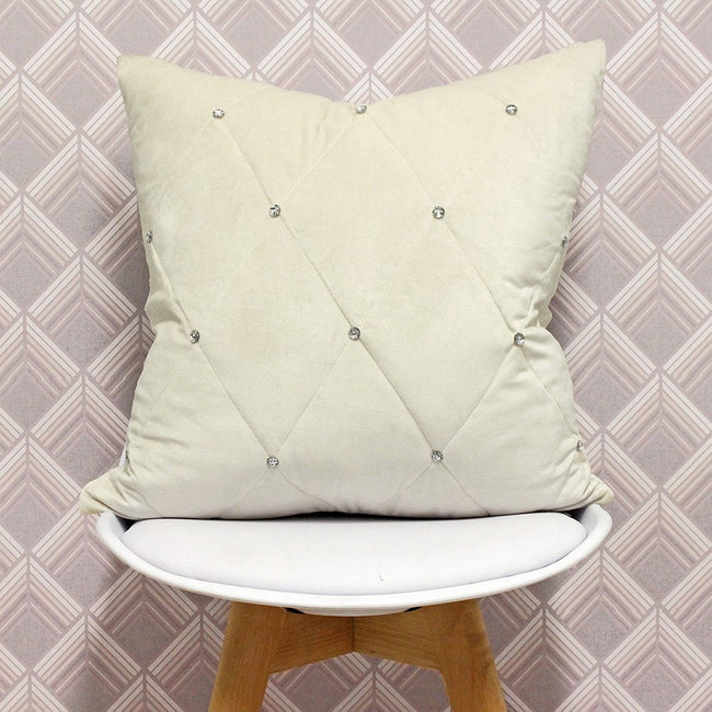 Cream - Back - Riva Paoletti New Diamante Cushion Cover