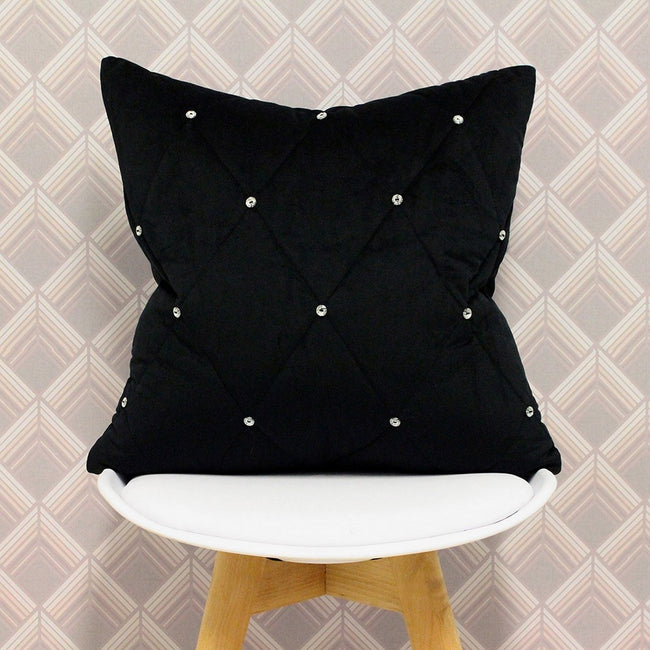 Black - Pack Shot - Riva Paoletti New Diamante Cushion Cover