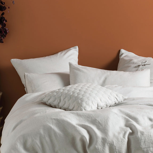 Grey - Side - Linen House Nimes Continental Sham Pillowcase Cover
