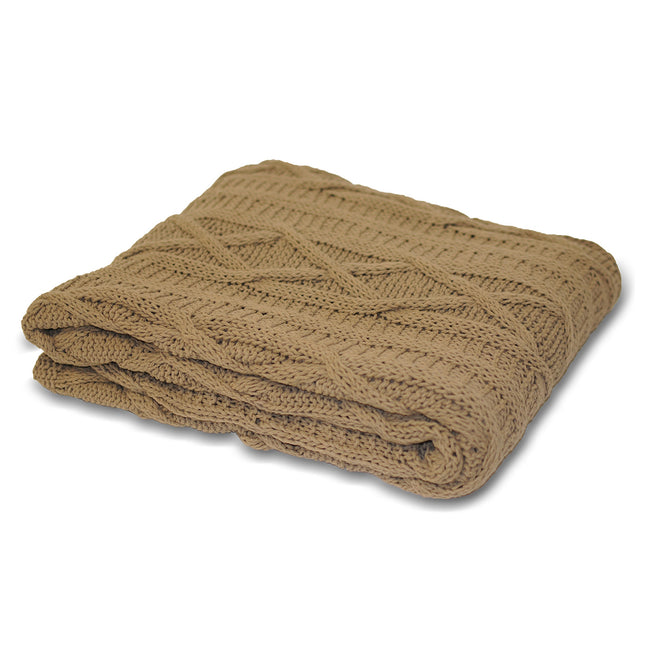 Mushroom - Front - Riva Home Aran Throw