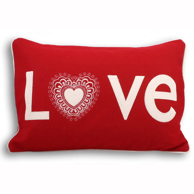 Red - Front - Riva Home Scandi Lovehearts Cushion Cover