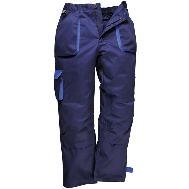 Navy - Front - Portwest Mens Contrast Workwear Trousers (TX11) - Pants