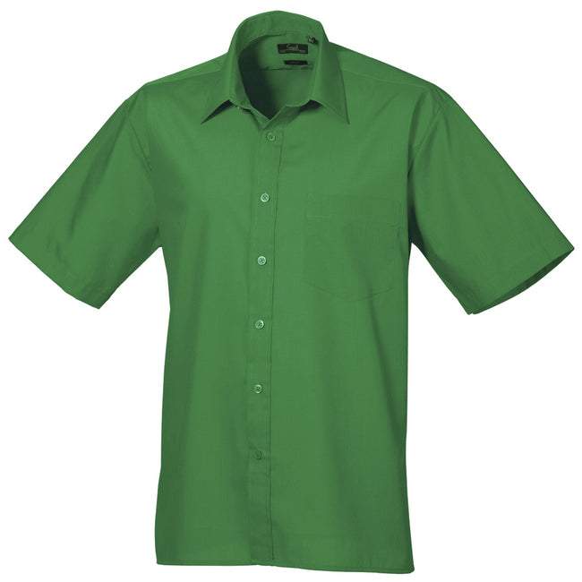 Emerald - Front - Premier Mens Short Sleeve Formal Poplin Plain Work Shirt