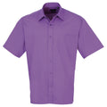 Emerald - Back - Premier Mens Short Sleeve Formal Poplin Plain Work Shirt