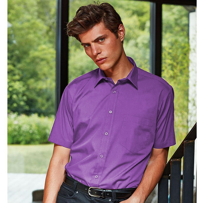 Khaki - Front - Premier Mens Short Sleeve Formal Poplin Plain Work Shirt
