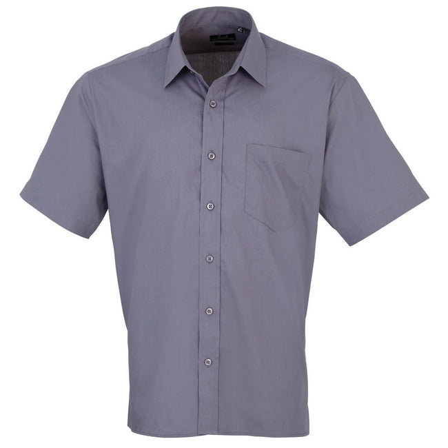 Khaki - Back - Premier Mens Short Sleeve Formal Poplin Plain Work Shirt