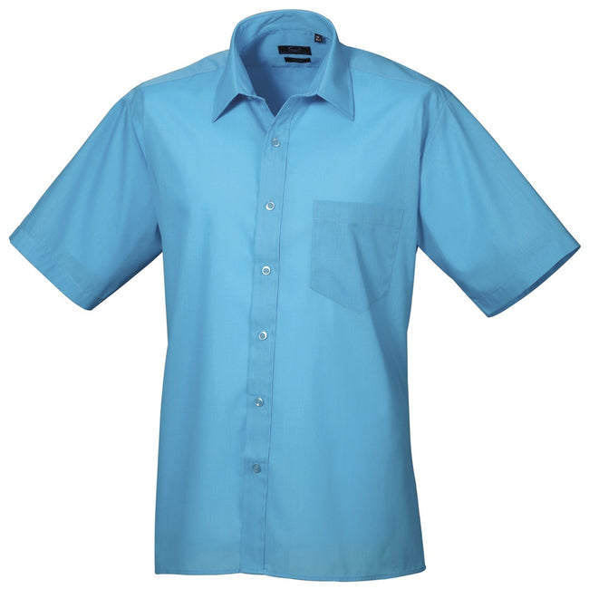 Mid Blue - Back - Premier Mens Short Sleeve Formal Poplin Plain Work Shirt
