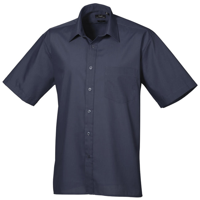 Purple - Back - Premier Mens Short Sleeve Formal Poplin Plain Work Shirt