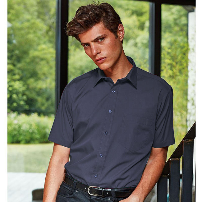 Red - Front - Premier Mens Short Sleeve Formal Poplin Plain Work Shirt