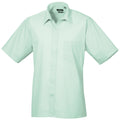 Red - Back - Premier Mens Short Sleeve Formal Poplin Plain Work Shirt